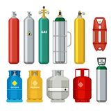 Gas cylinders icons. Petroleum safety fuel metal tank of helium butane acetylene vector cartoon objects isolated. Equipment for safe butane and propane, oxygen vector illustration