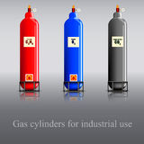 Gas cylinders for industrial use Stock Images