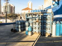 Gas cylinders ready for shipment for domestic used stock image