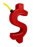 Gas del segno del dollaro il a forma di può Immagine Stock Libera da Diritti