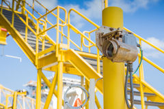 Gas detector infared type for monitor and detect gas leak. Gas detector infared type for monitor and detec gas leak at oil and gas central processing platform stock image