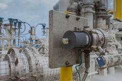 Gas detector poin type install near gas compressor to detect any leaking of gas for safety. Gas detector install near gas compressor to detect any leaking of gas stock photo