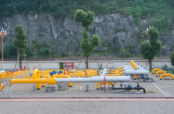 Gas distributing station. Natural gas distribution station at the foot of the mountain Stock Photography