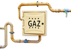 Gas distribution box and pipes Royalty Free Stock Image