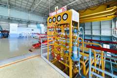 Gas distribution position in a nuclear power plant the turbine room. A lot of manual valves and gate valves royalty free stock photos