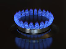 Gas with a dollar sign burns from the kitchen stove. Cost of gas, gaz price concept 3d illustration Royalty Free Stock Image
