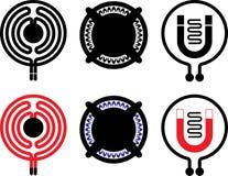 Gas-, elkraft- och induktionscooktopsymboler stock illustrationer