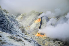 Gas emerging from Ijen crater Royalty Free Stock Photos