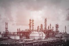 Gas en olieraffinaderijinstallatie Royalty-vrije Stock Foto
