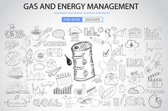 Gas and Energy Management concept with Doodle design style Stock Images
