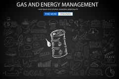 Gas and Energy Management concept with Doodle design style Stock Image
