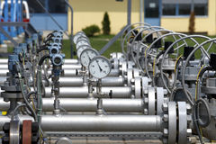 Gas equipment. Details of a valve or pump that is part of a complex industrial pipeline system Stock Photo