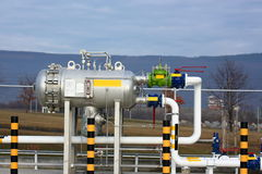 Gas equipment. Oil and gas equipment with pipelines and valves outdoor Stock Photos
