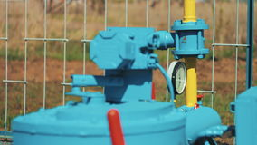 Gas equipment at the station. Pipeline with valve. Gas processing plant. Gauges and pipeline gas main. Gas and oil stock video