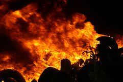 Gas explosion, fire and destruction, large incident,. Fire risk, emergency stock images