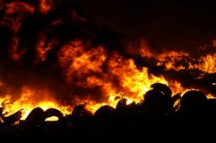 Gas explosion, fire and destruction, large incident,. Fire risk, emergency stock photography