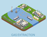 Gas extraction nautical process refinery flat isometric vector Royalty Free Stock Photography