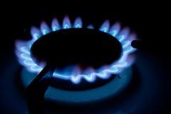 gas för blåa flammor Fotografering för Bildbyråer