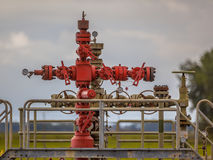 Gas field well head Royalty Free Stock Image