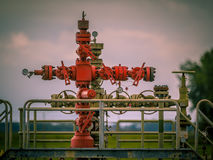 Gas field well head vintage Royalty Free Stock Image
