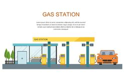 Gas filling station. Energy. Vector flat illustration Royalty Free Stock Images