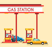 Gas filling station. Energy. Vector flat illustration. Gasoline and oil station. Happy customers Royalty Free Stock Photography