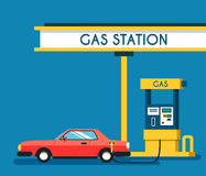 Gas filling station. Energy. Vector flat illustration. Gasoline and oil station. Happy customers Stock Photos