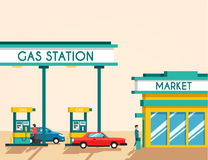 Gas filling station. Energy. Vector flat illustration. Gasoline and oil station with market. Happy customers Royalty Free Stock Photo