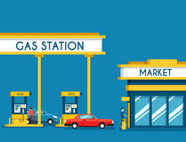 Gas filling station. Energy. Vector flat illustration. Gasoline and oil station with market. Happy customers Stock Photography