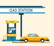 Gas filling station. Energy. Vector flat illustration. Gasoline and oil station with market. Happy customers Royalty Free Stock Images