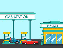 Gas filling station. Energy. Vector flat illustration. Gasoline and oil station with market. Happy customers Stock Image