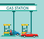 Gas filling station. Energy. Vector flat illustration. Gasoline and oil station with market. Happy customers Stock Images
