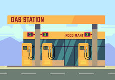 Gas filling station transport related service. Empty gas station on roadside, illustration of gas filling station with food shop Stock Photos