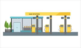 Gas filling station on white background. Vector illustration Royalty Free Stock Photography
