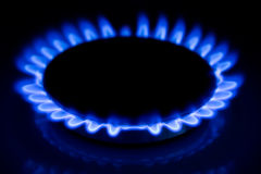 Gas fire. Burning gas cooker rings ready to cook Stock Photos