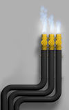 Gas in fire. Gas pipe. 3d Stock Photography