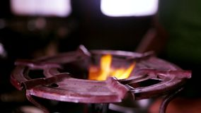 Gas fire burns, Natural gas inflammation in stove burner stock video