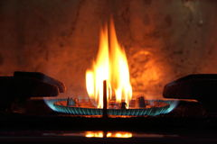 Gas fire from the furnace Stock Images