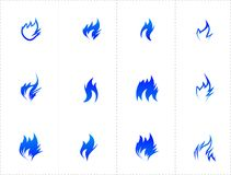 Gas fire icon set Stock Photos