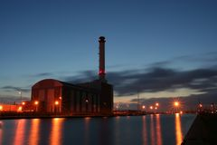 Gas fired power station. stock photo