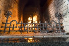 Gas Fireplace with Brick Surround Royalty Free Stock Images