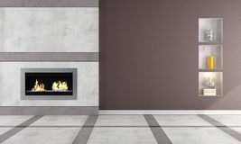 Gas fireplace in a elegant room. Contemporary  gas fireplace in a classic room - rendering Stock Photography