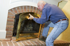 Gas Fireplace Installation Royalty Free Stock Photos