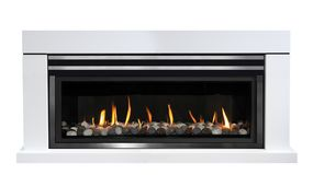 Gas fireplace isolated on white background. White gas fireplace isolated on white background stock photos