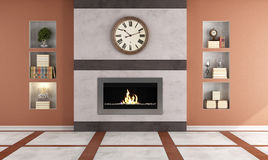Gas fireplace in a living room. Contemporary  gas fireplace in a classic room - rendering Royalty Free Stock Images
