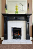 Gas fireplace and surround. Modern lounge interior with gas fire and surround Stock Image