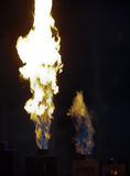 Gas Fires. Employed as a lighting element for stage performances Stock Photo