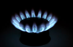Gas flame. Closeup detail of natural gas flame on a stove Stock Photography