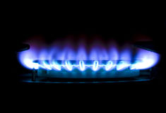 Gas flame. Picture of gas flame in darkness Royalty Free Stock Photo