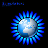 Gas flame. Illustration of Earth and a natural gas flame. Vector Stock Photo